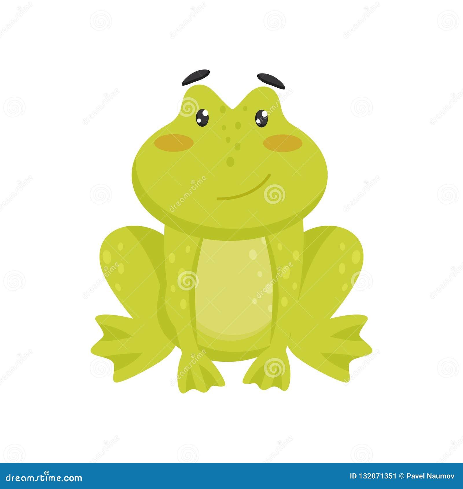 Плоский значок вектора милой усмехаясь лягушки Персонаж из мультфильма смешной зеленой жабы с розовыми щеками и сияющими глазами