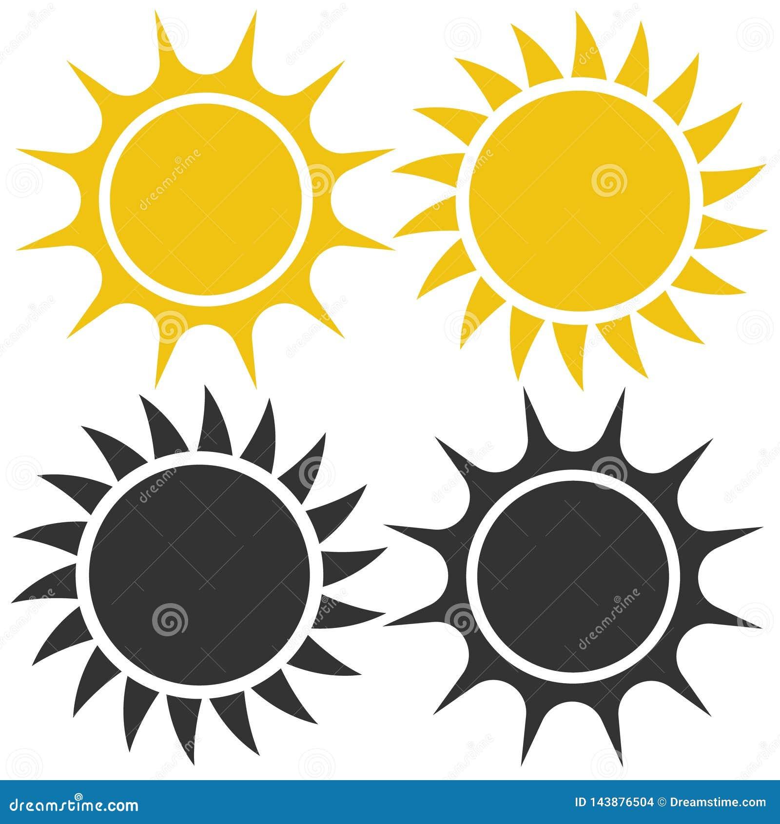 Плоский значок солнца Пиктограмма Солнца Иллюстрация вектора шаблона