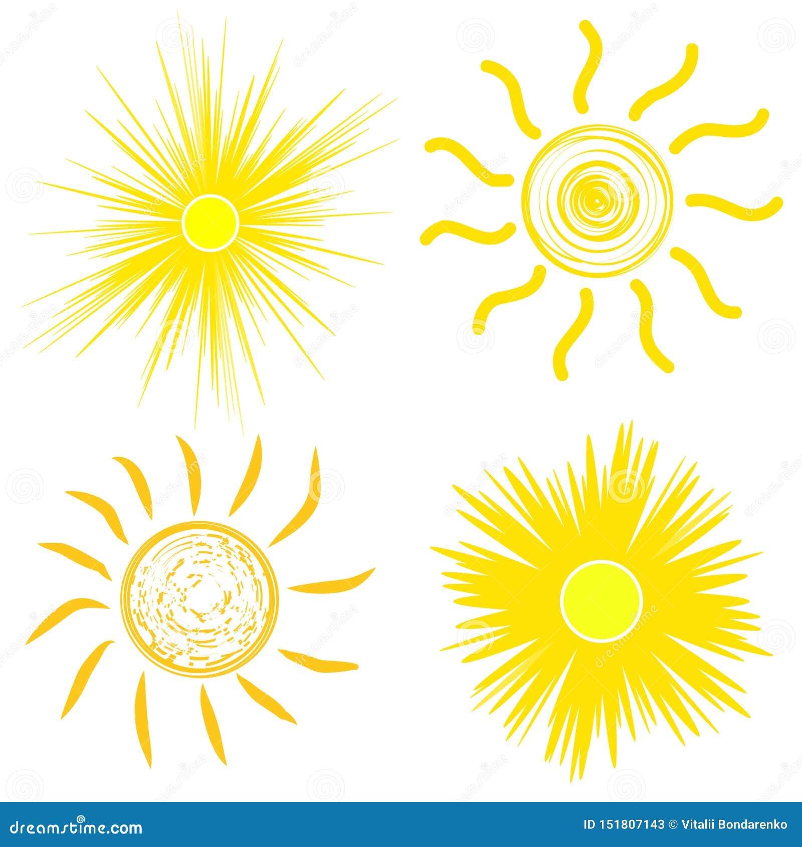 Плоский значок солнца Пиктограмма Солнца Ультрамодный символ лета вектора для дизайна вебсайта, кнопки сети, мобильного приложени