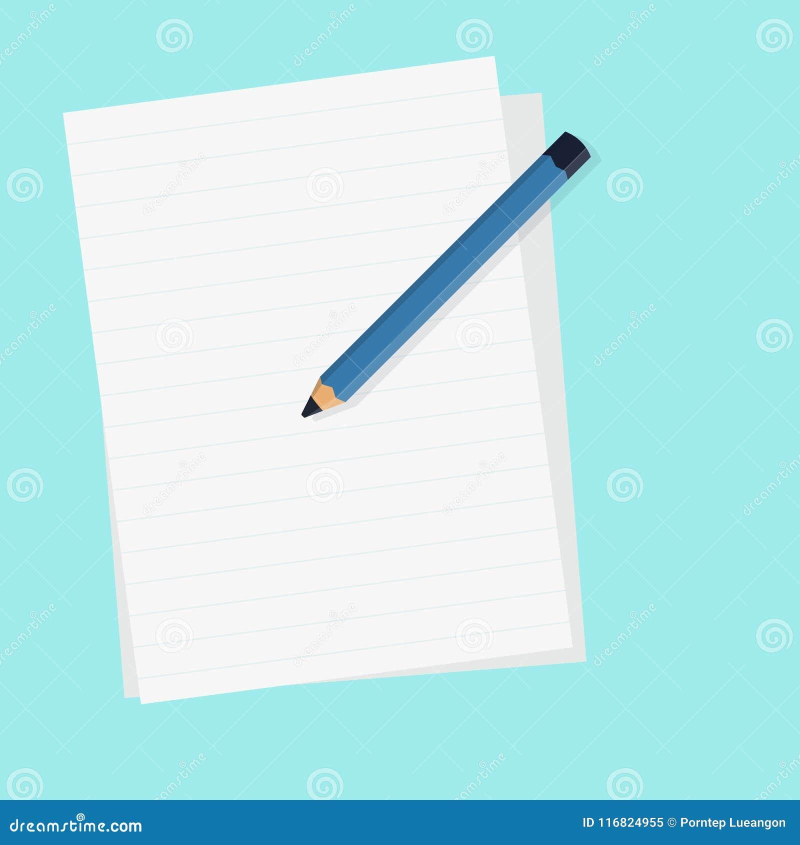 Плоский карандаш с чистым листом бумаги и изолированной голубой иллюстрацией вектора предпосылки