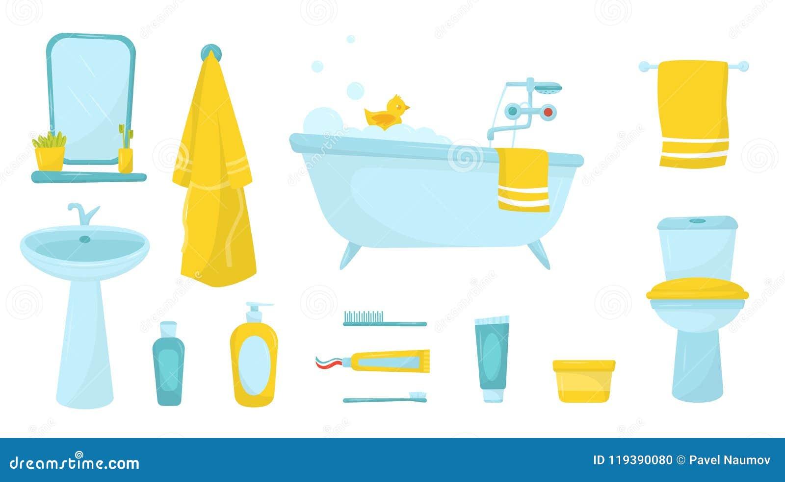 Плоский комплект вектора деталей ванной комнаты Ванна с пеной и резина duck, купальный халат и полотенце, косметики для заботы ко