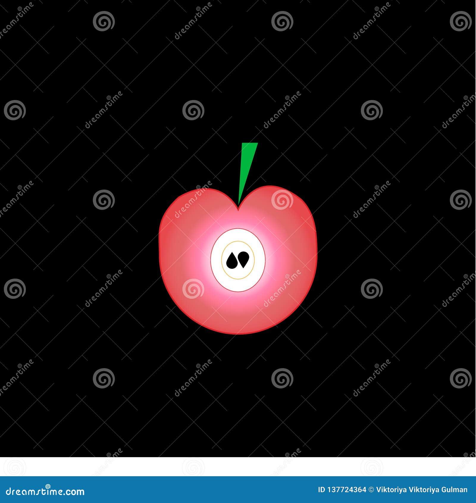 Плоское розовое яблоко с семенами и зелеными лист на черной предпосылке