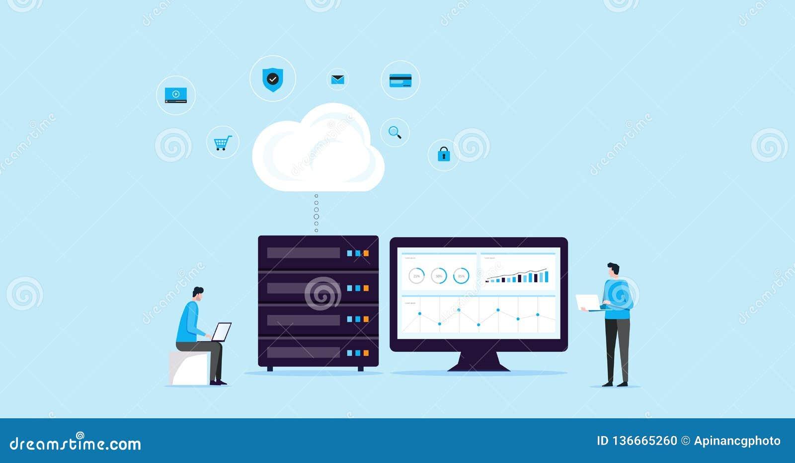Плоское соединение хранения облака технологии идеи проекта иллюстрации с технологией хостинг wen дела и servi серверов онлайн
