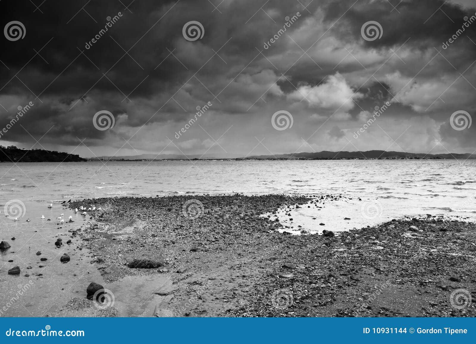 пляж заволакивает темный сход сверх