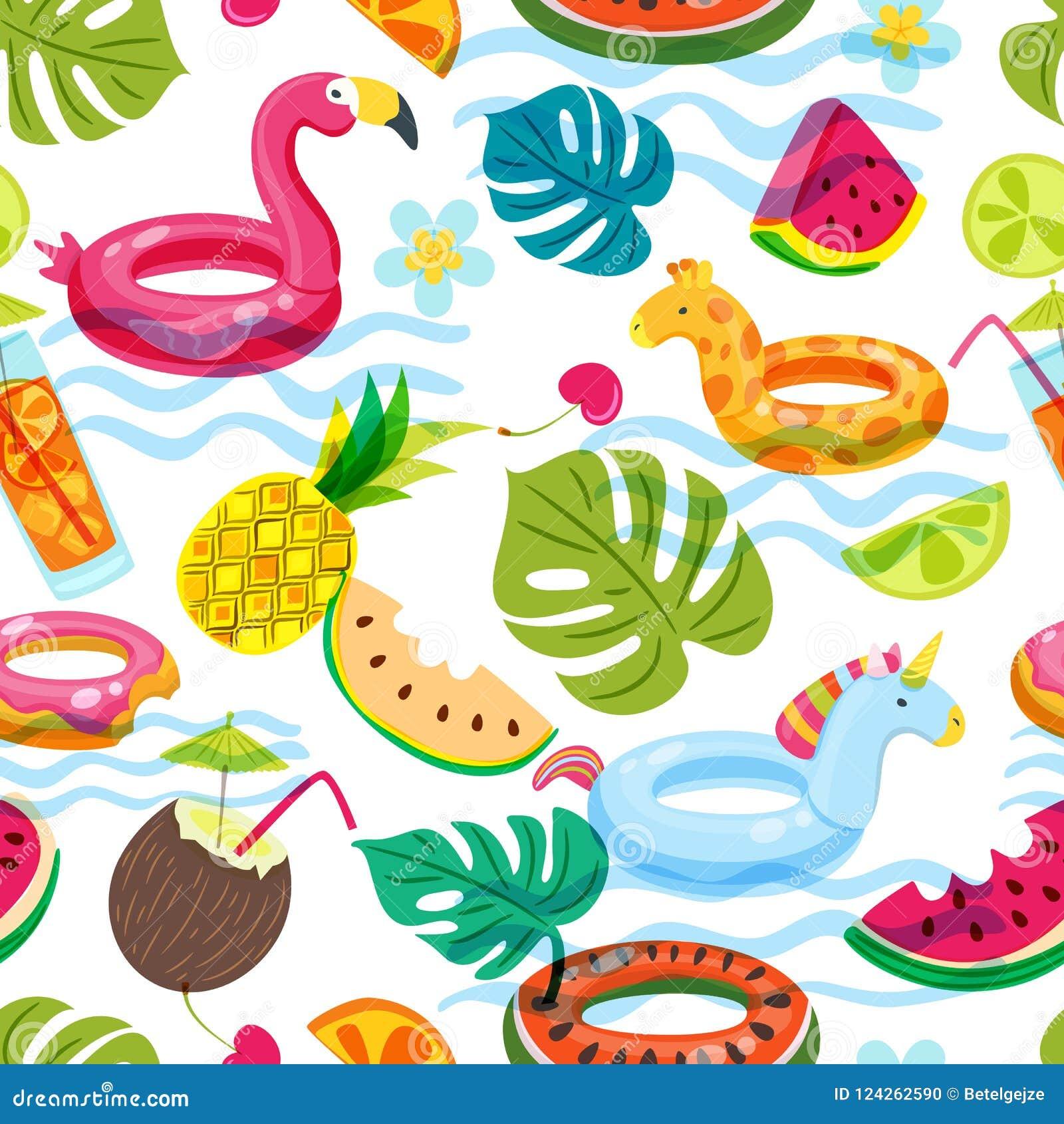 Пляж лета или картина бассейна безшовная Иллюстрация doodle вектора раздувных игрушек детей, плодоовощей, коктеилей