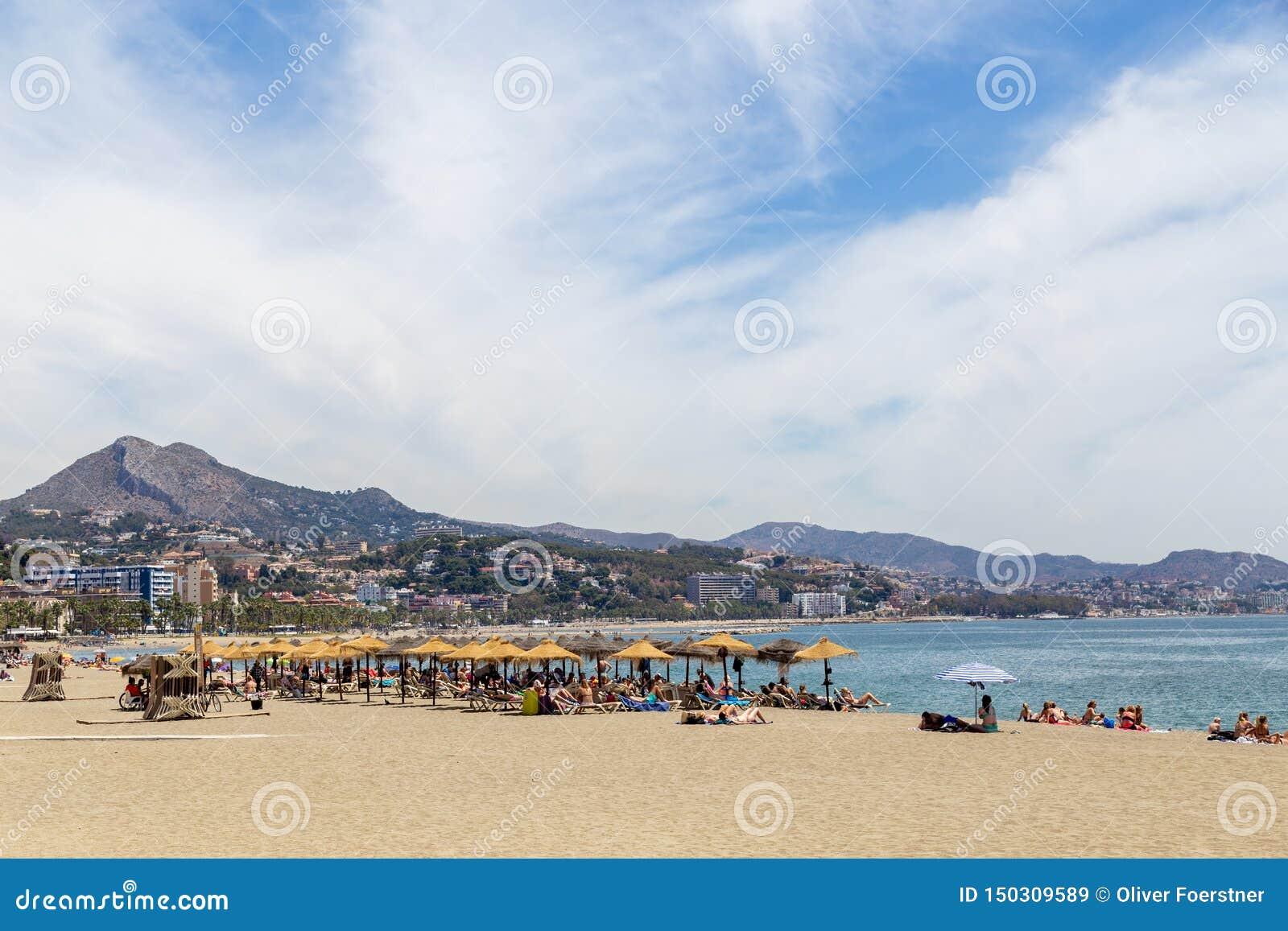 Пляж Malagueta в Малага, Испании