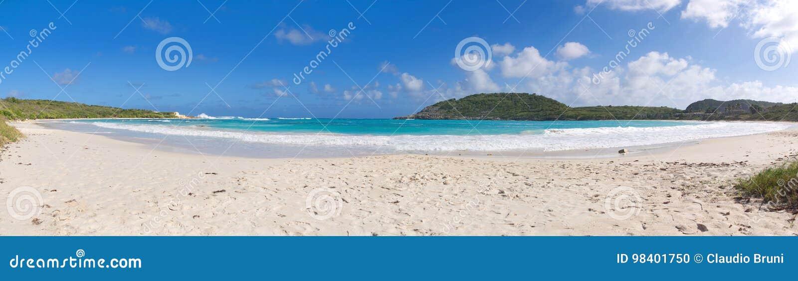 Побережье Half Moon Bay Атлантического океана - карибский тропический остров - Антигуа и Барбуда