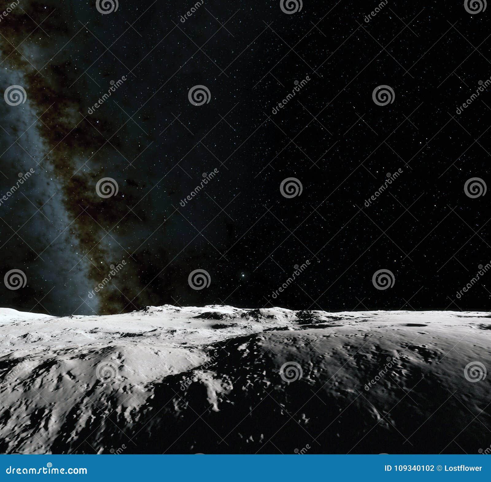 Поверхность луны Реалистические 3d представляют луны и космоса Космос и планета Спутник nebula звезды Элементы этого изображения