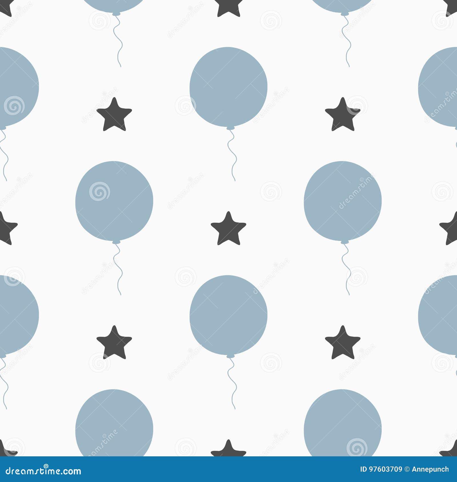 Повторенные звезды и воздушные шары Безшовная картина для мальчиков Нарисовано вручную