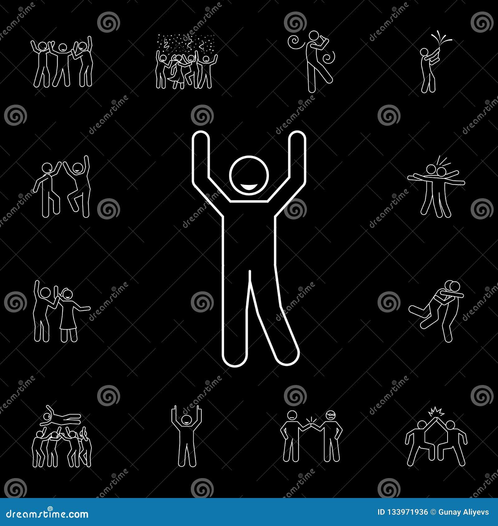 """повышение одно  """"значок рук s Детальный набор значков торжества людей Наградной графический дизайн Один из значков собрания для"""