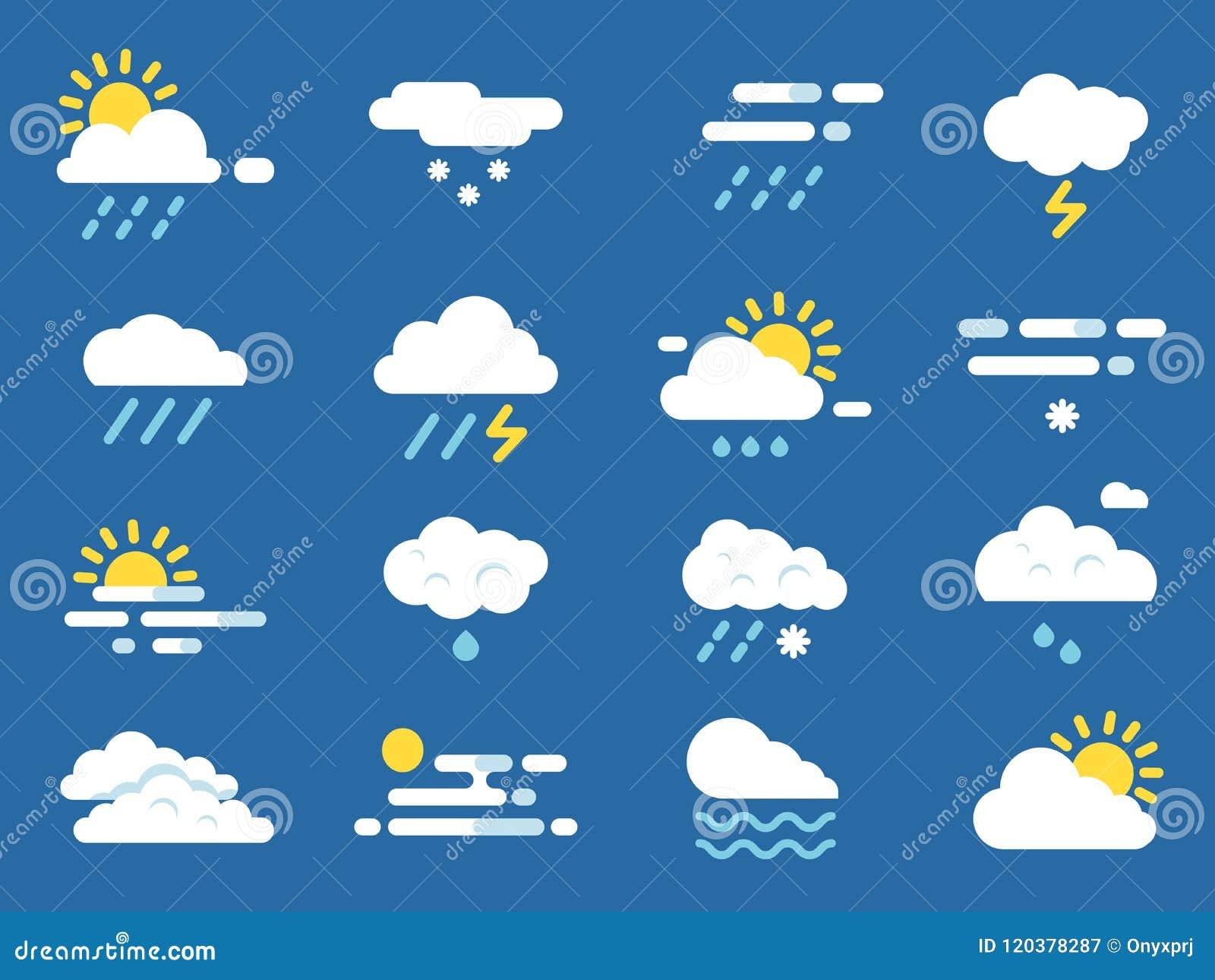 погода иконы установленная Символы Meteo Изображения вектора в плоском стиле