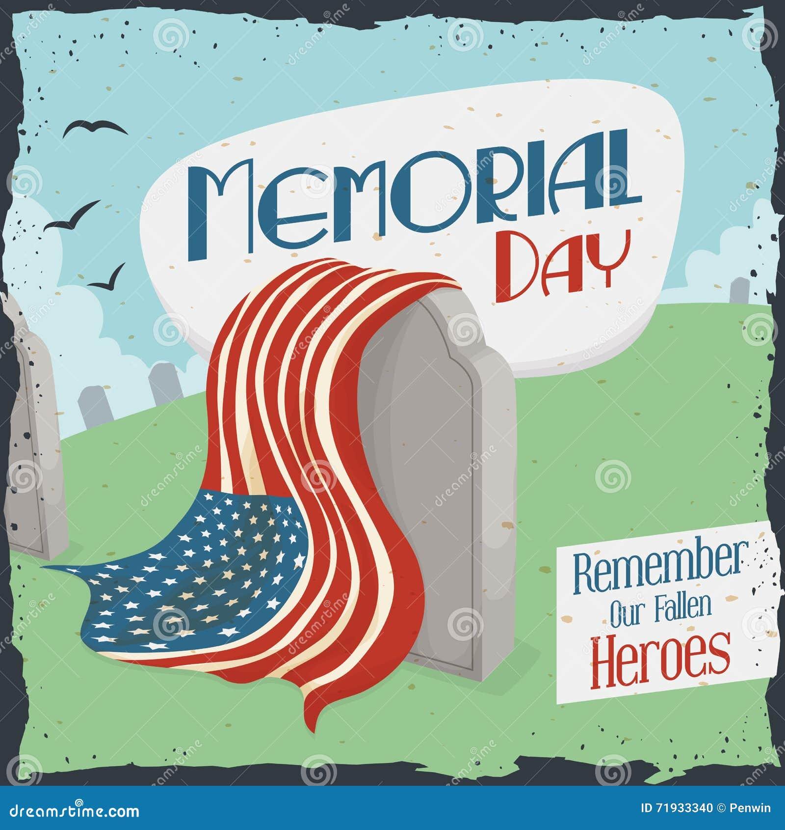 Погост с ретро знаком на День памяти погибших в войнах, иллюстрация вектора