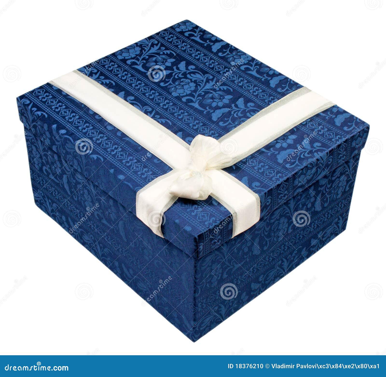 подарок голубой коробки
