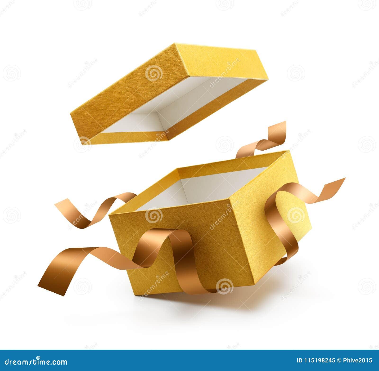 Подарочная коробка золота открытая с лентой