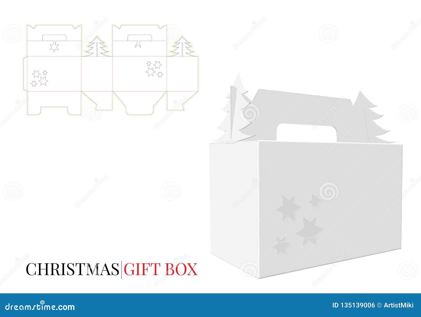 Подарочная коробка рождества с ручкой