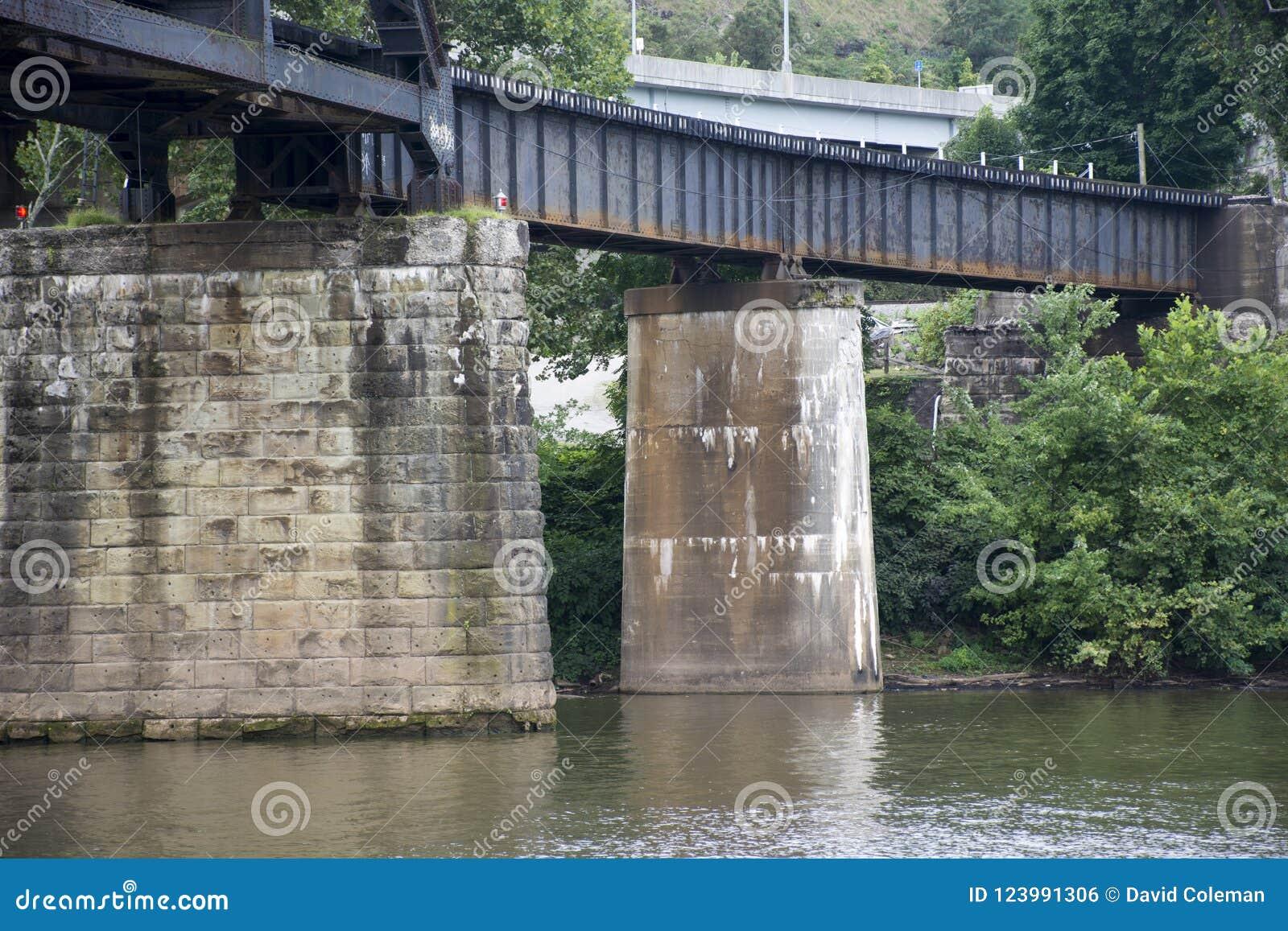 Поддержки моста в реке