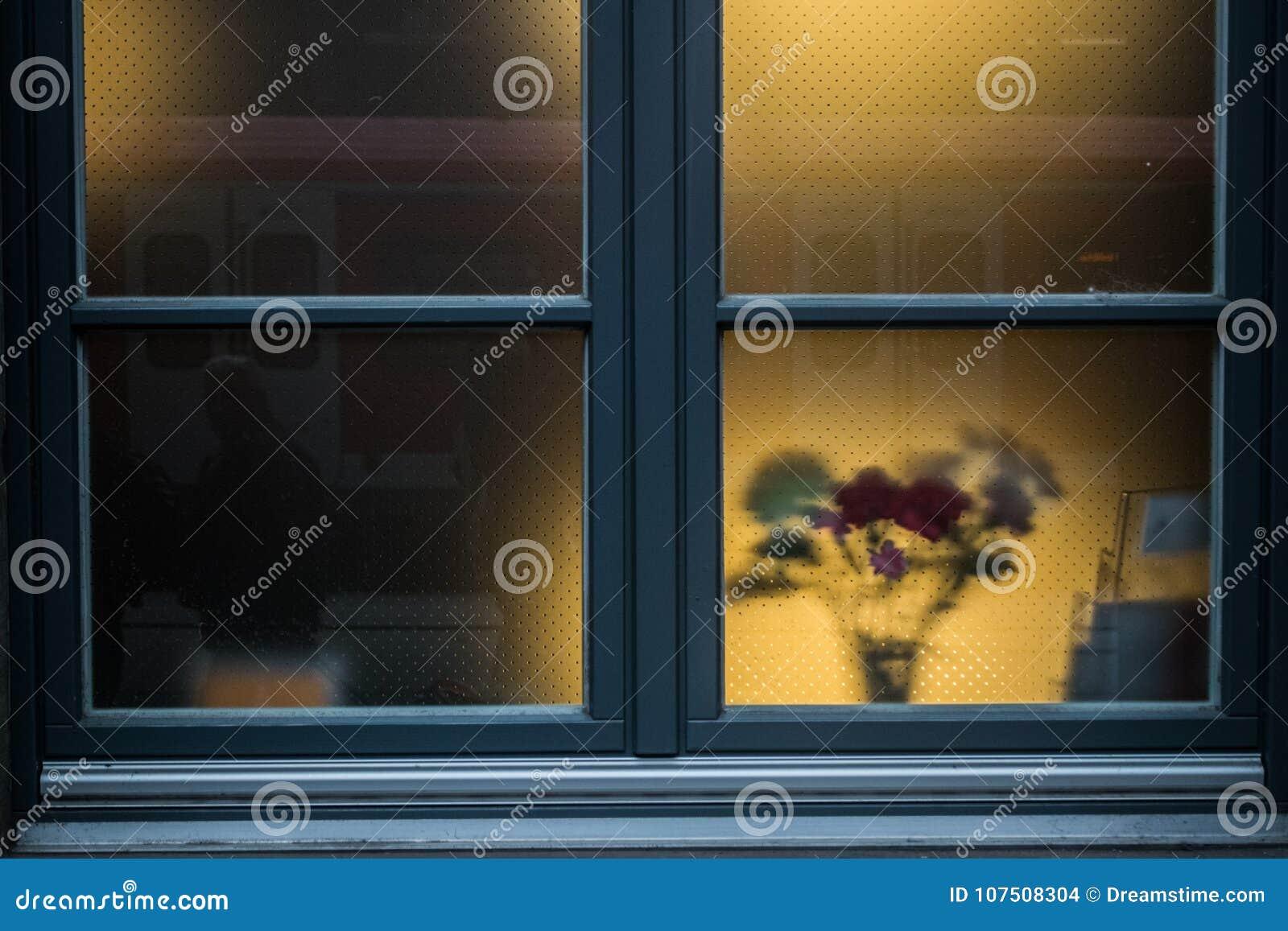 Подкрашиванное голубое окно с цветками за стеклом