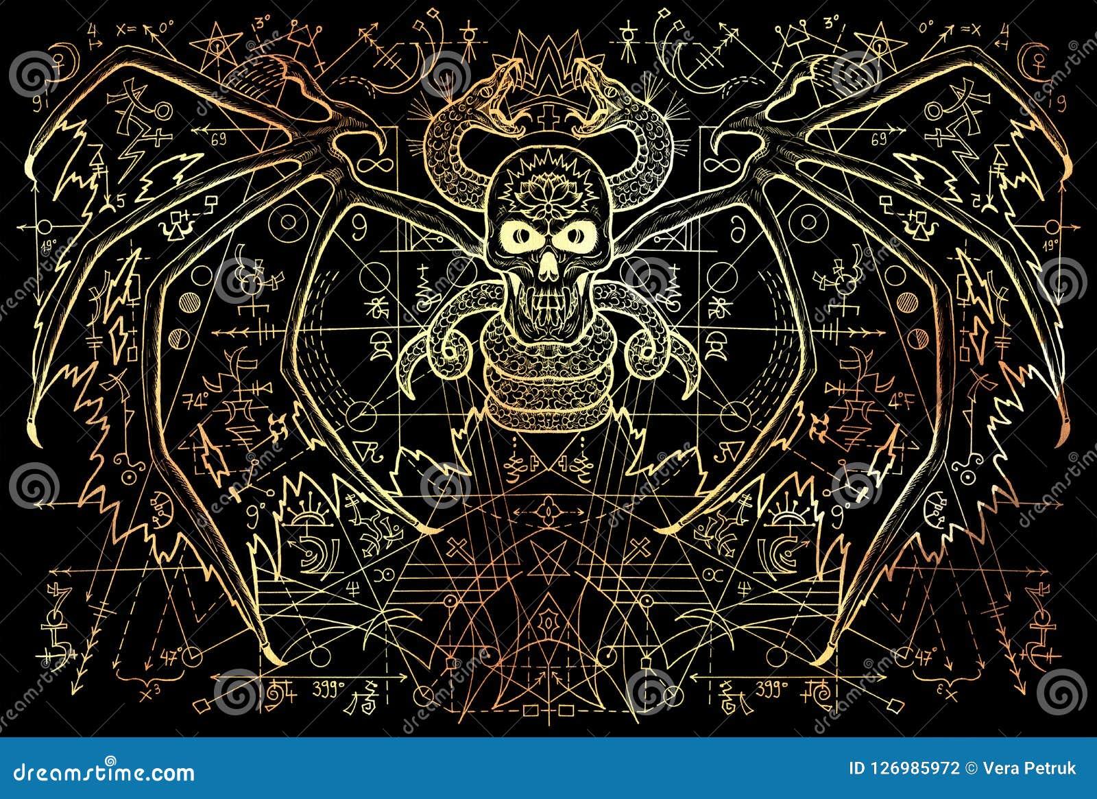 Подогнали демон и змейка с загадочными символами и геометрическая линия на черноте