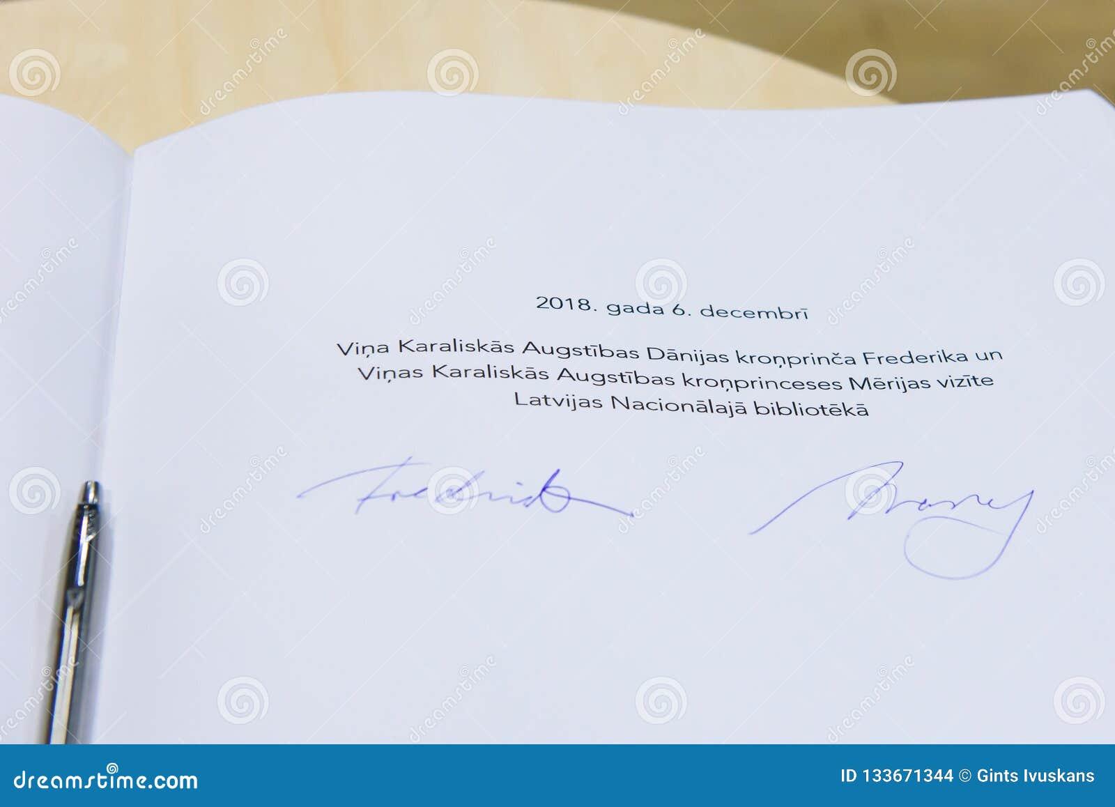 Подпись на гостевой книге, наследного принца Дании Frederik
