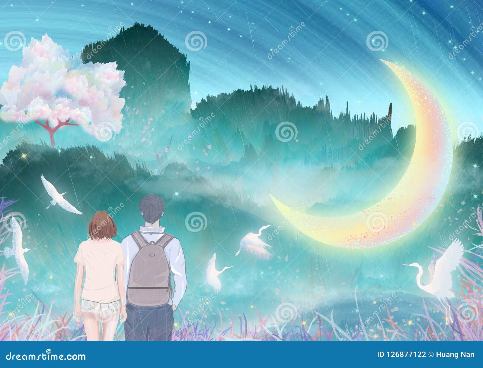 Под рекой луны, пары целуют и обнимают совместно внешний взбираться, краны в вишневых деревьях летая упаковка иллюстрации
