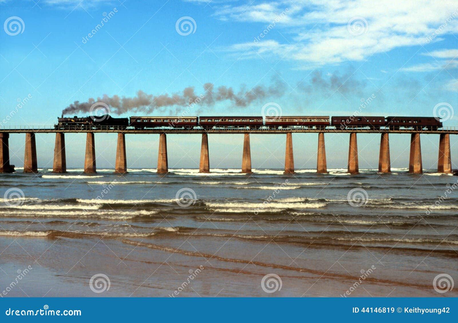 Поезд пара пересекая мост Южную Африку реки Kaaimans