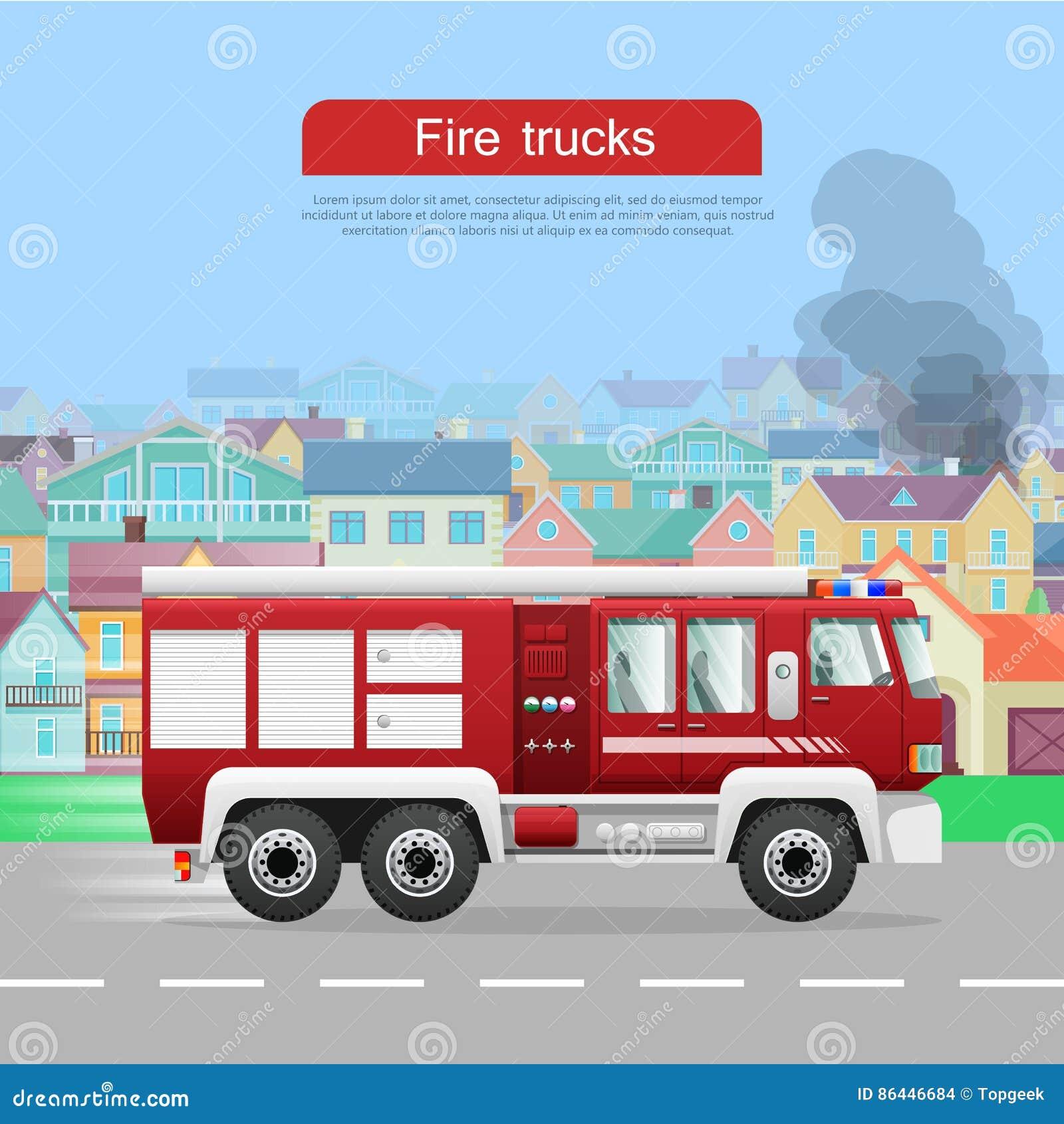 Пожарные машины Vector плоское знамя сети