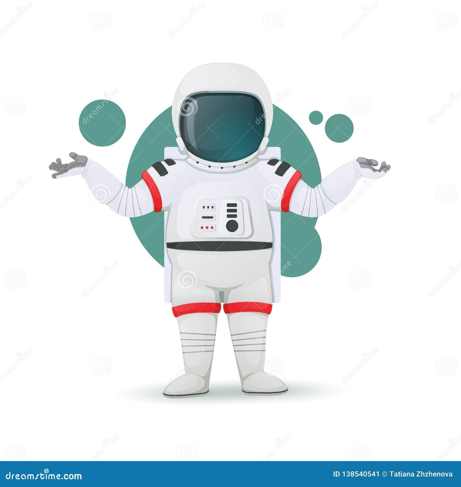 Пожимания плечами астронавта показывая сомнение, запутанность или недостаток эрудиции Озадаченное выражение головка дерзких милых