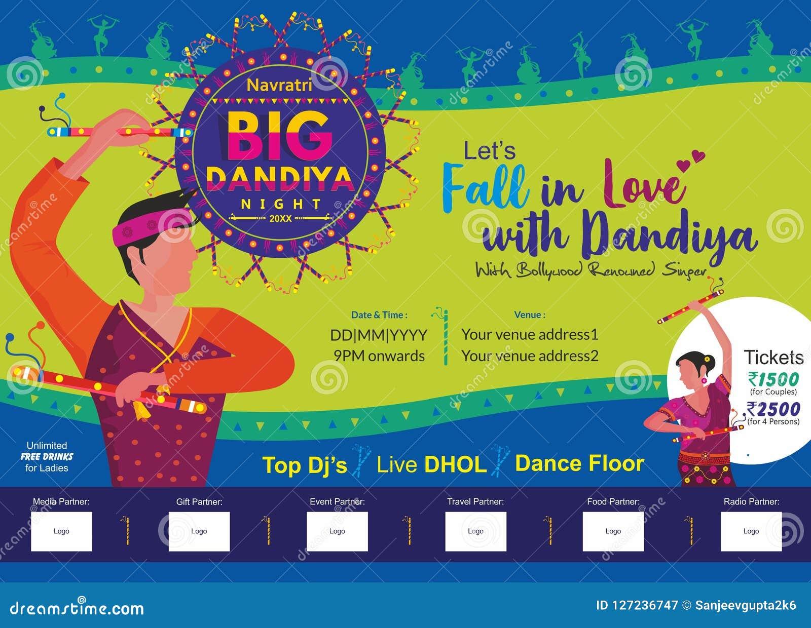 Позвольте нам упасть влюбленн в большой шаблон печатной рекламы ночи dandiya