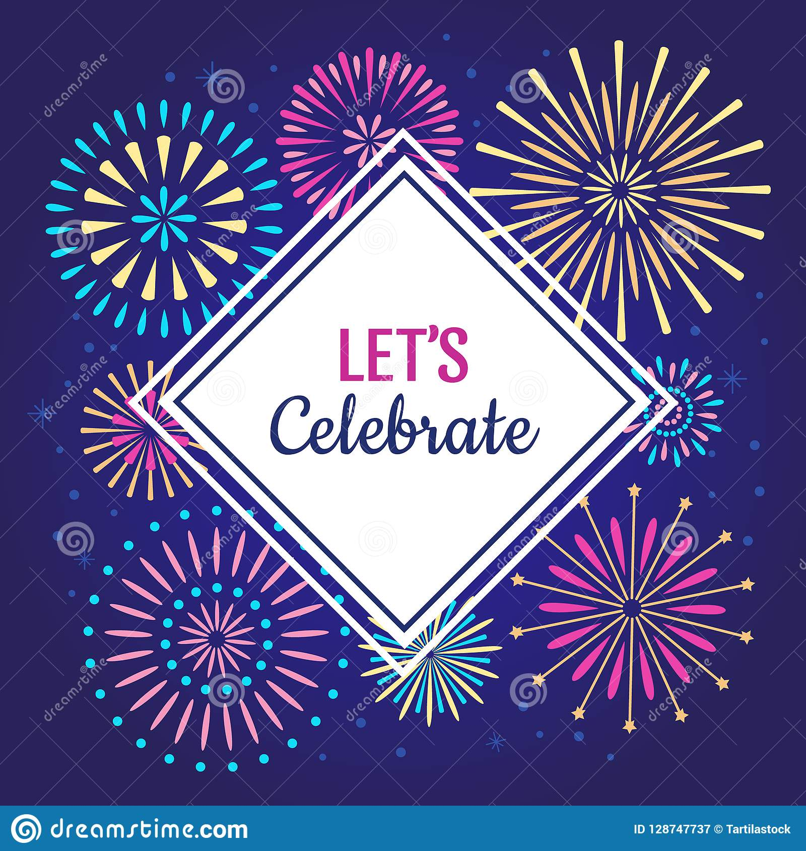 Позволяет для того чтобы отпраздновать плакат Фейерверки торжества зимнего отдыха, фейерверк партии годовщины или празднуют предп