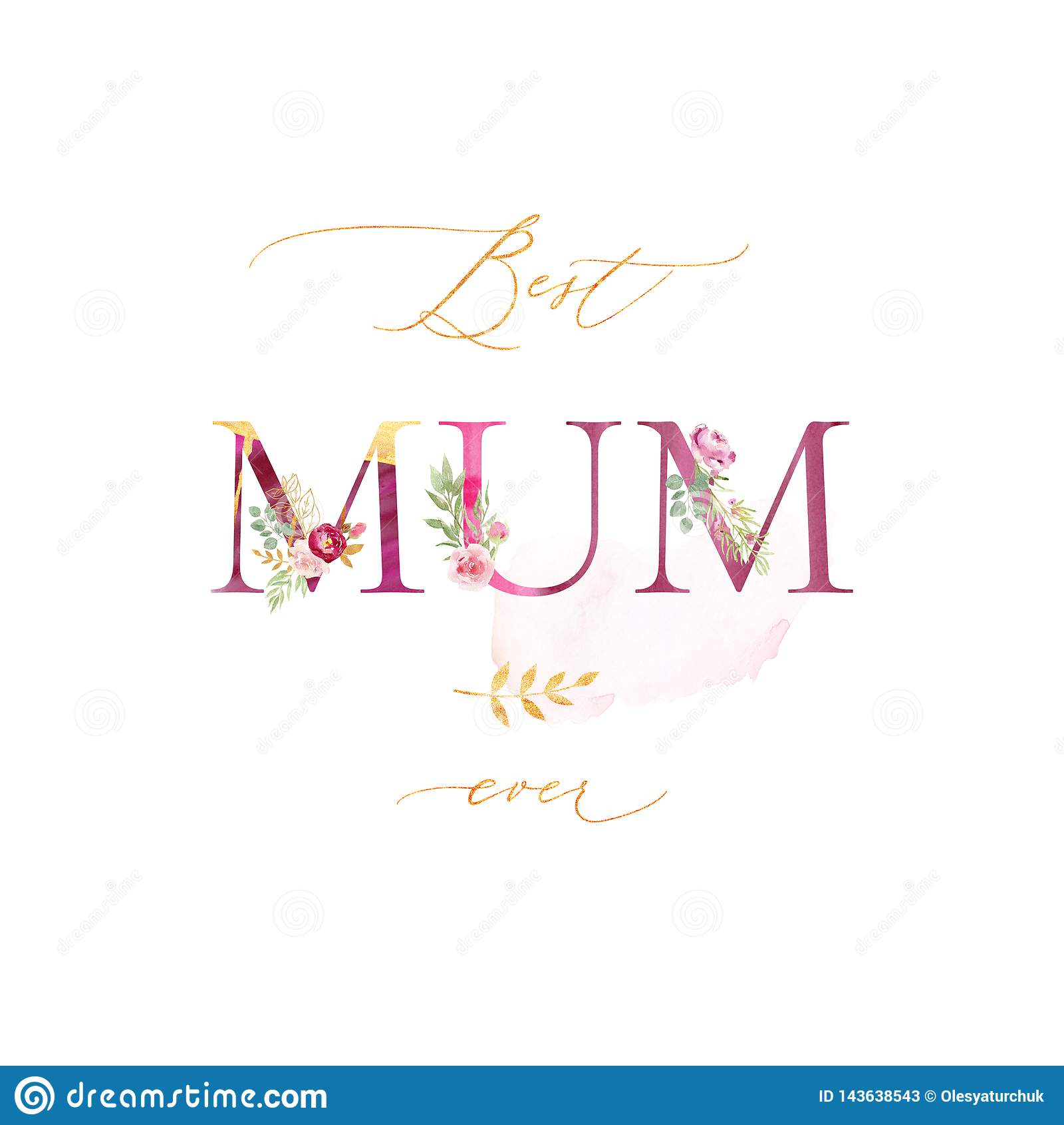 Поздравительная открытка акварели на День матери