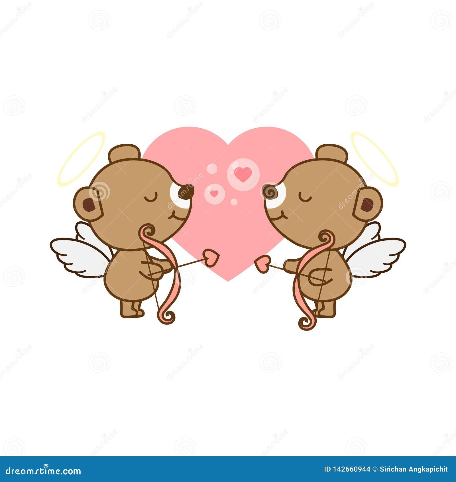 Поздравительная открытка валентинки Милый медведь ангела с сердцем также вектор иллюстрации притяжки corel