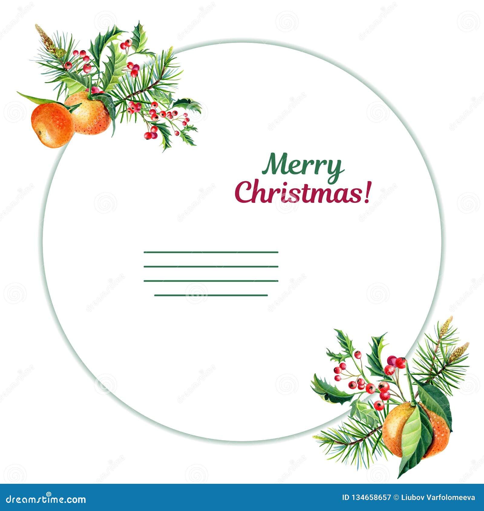 Поздравительная открытка веселого рождества акварели с оранжевым tangerine, падубом, листьями, красными ягодами,