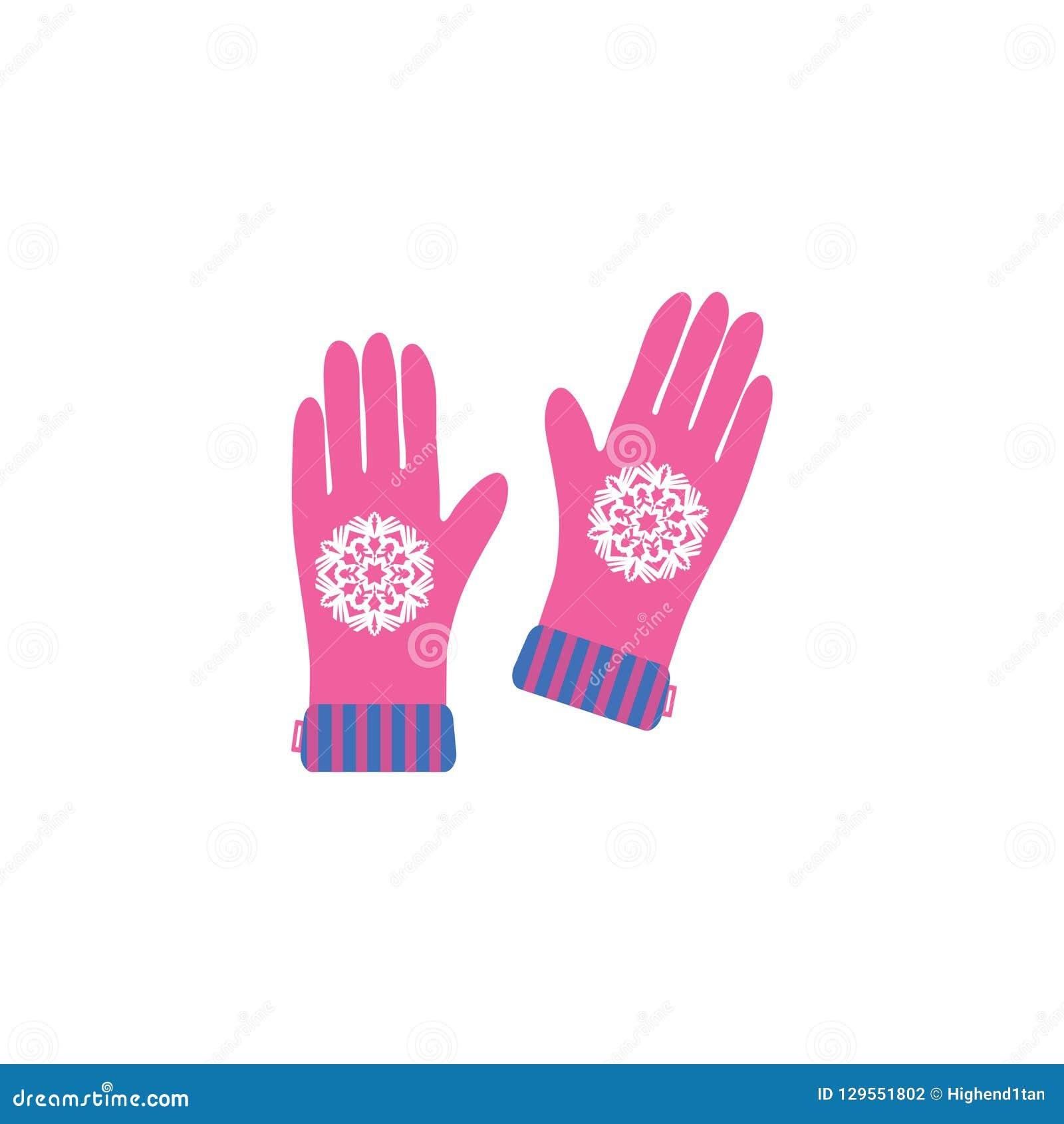Поздравительная открытка веселого рождества с перчатками и снежинкой