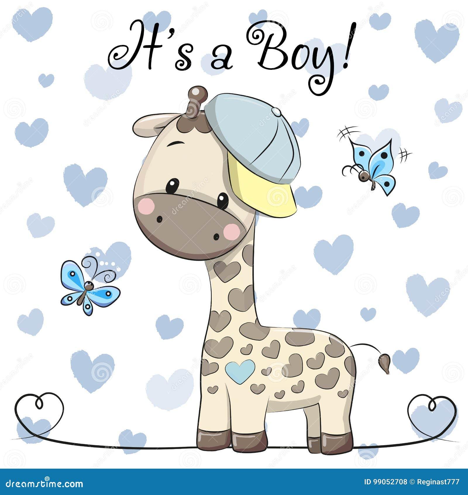 Поздравительная открытка детского душа с милым мальчиком жирафа
