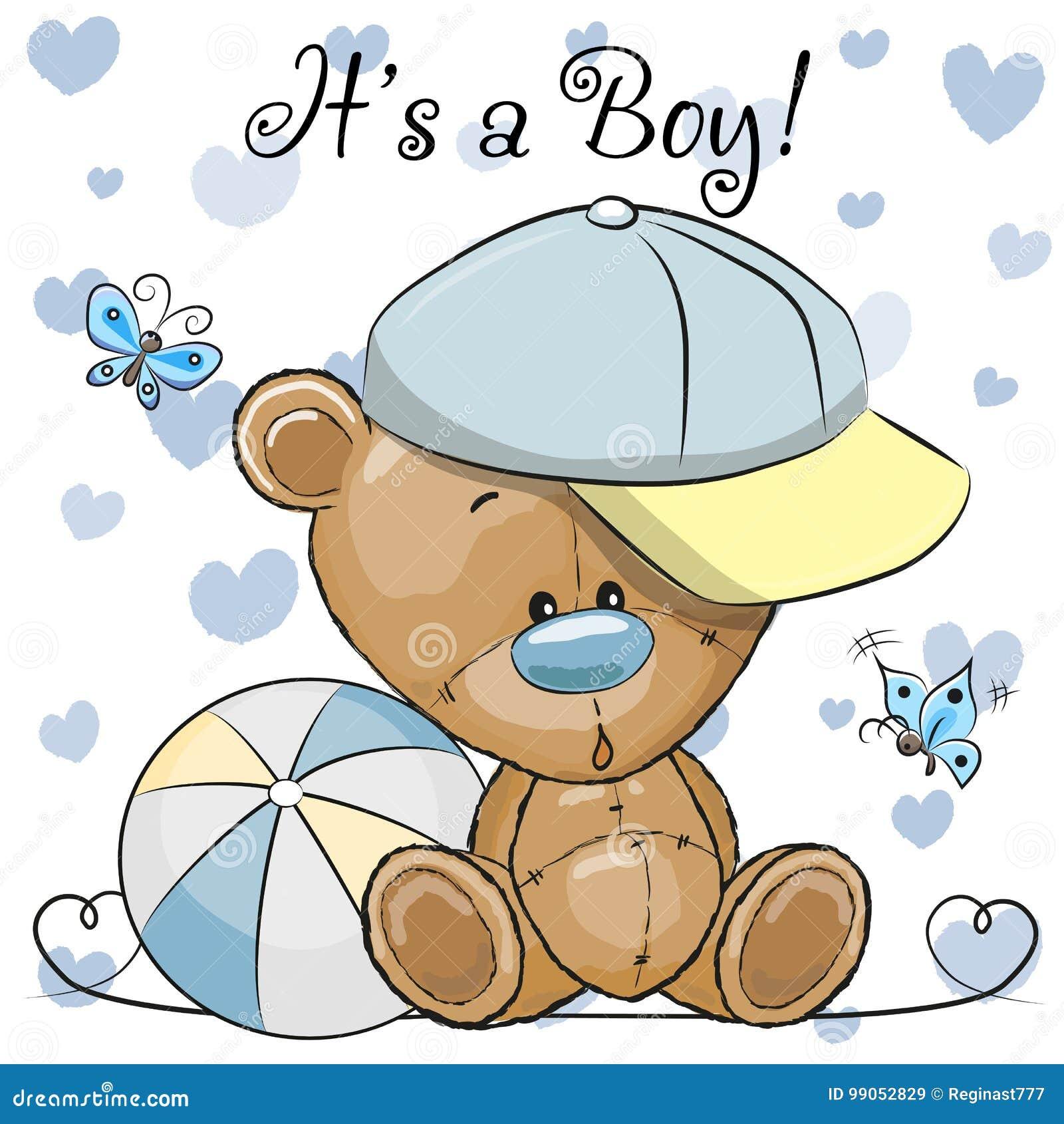 Поздравительная открытка детского душа с милым мальчиком плюшевого медвежонка