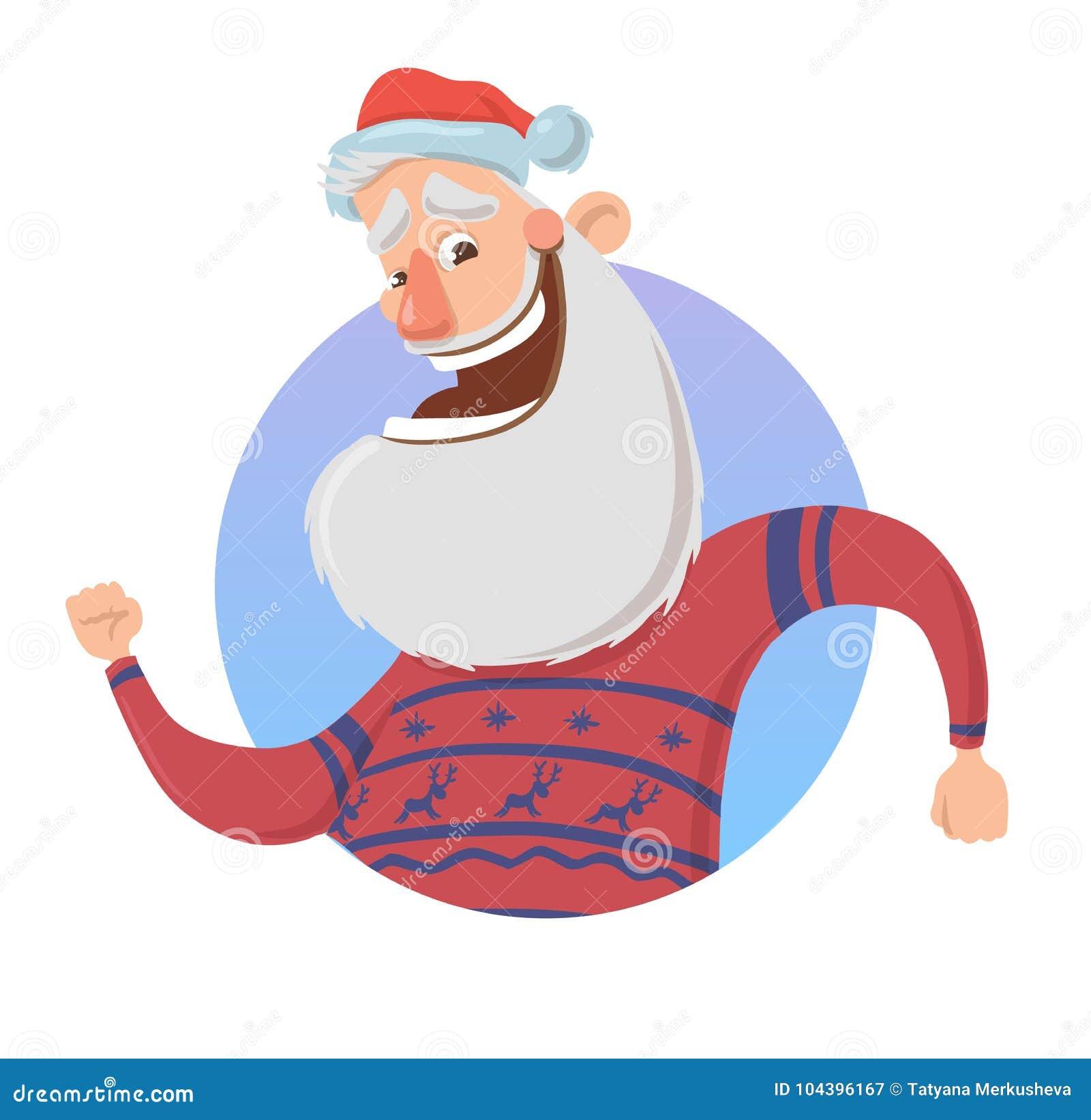 Поздравительная открытка рождества с смешной рукой Санта Клауса усмехаясь и развевая Санта в волнах свитера оленей здравствуйте!