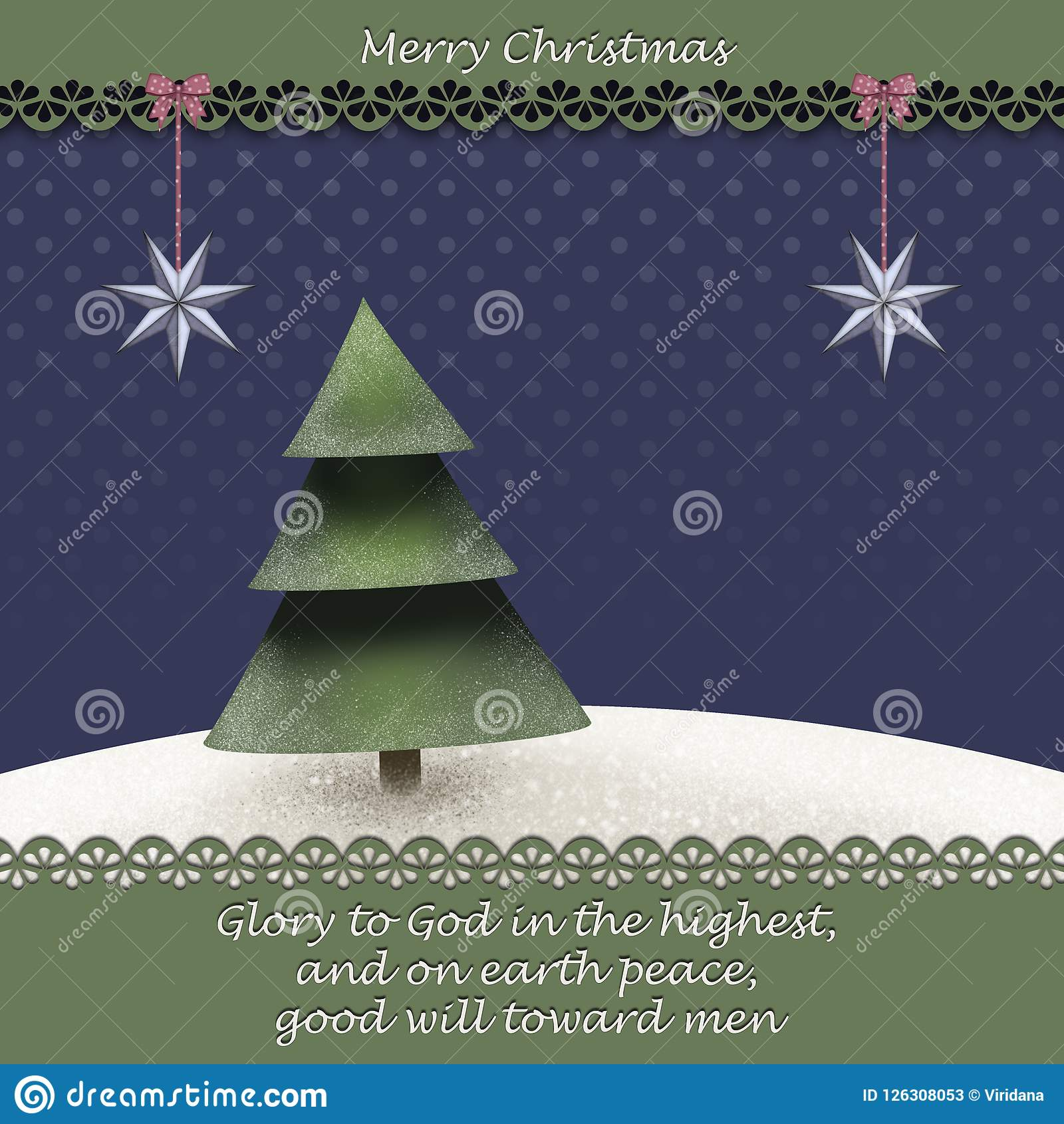 Поздравительная открытка рождества с winterlandscape рождественской елки i и библия закавычат от Люка 2 14