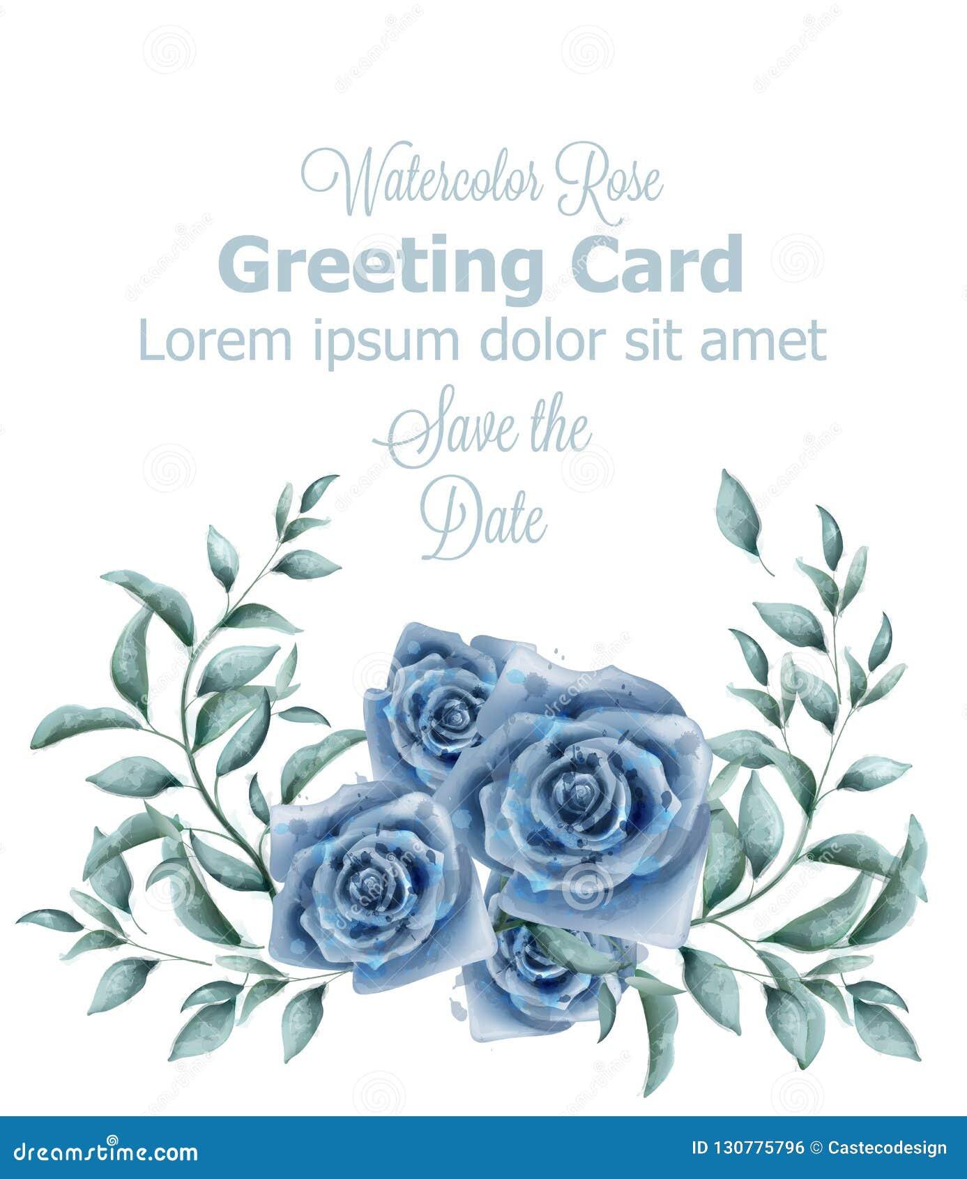 Поздравительная открытка с голубым знаменем вектора акварели роз Плакаты оформления красивых винтажных пастельных цветов флористи