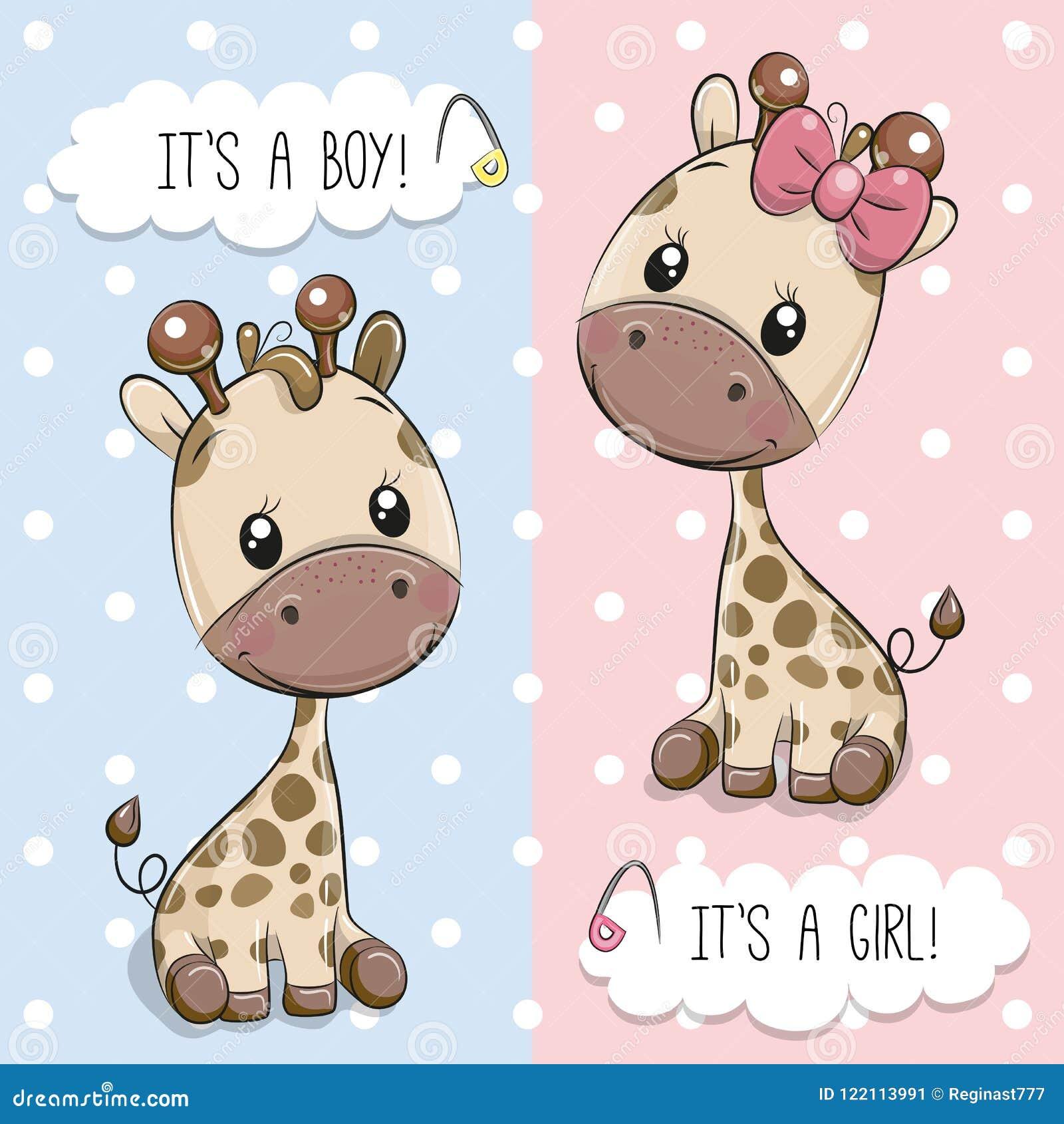 Поздравительная открытка с милыми жирафами