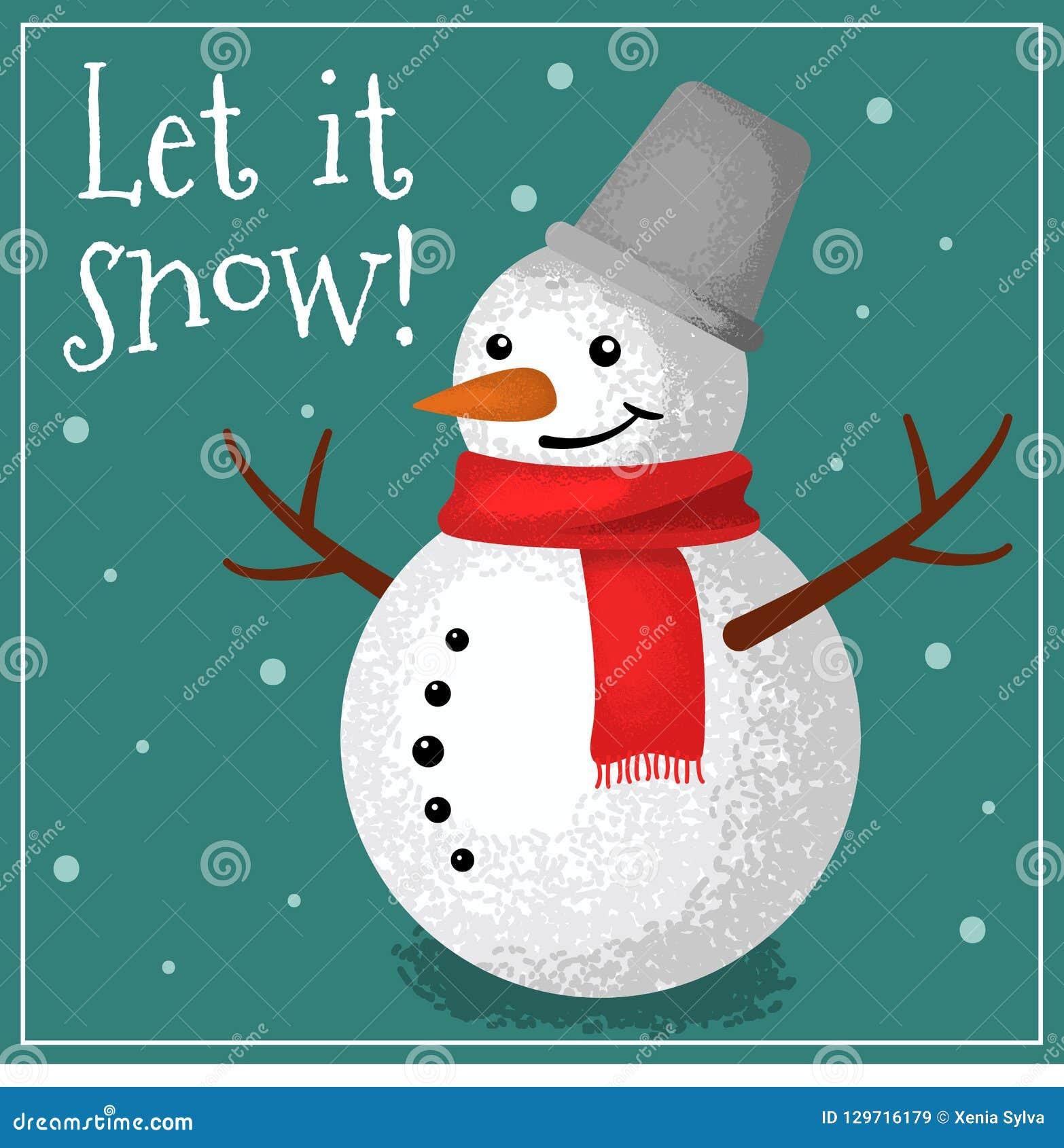Поздравительная открытка с снеговиком