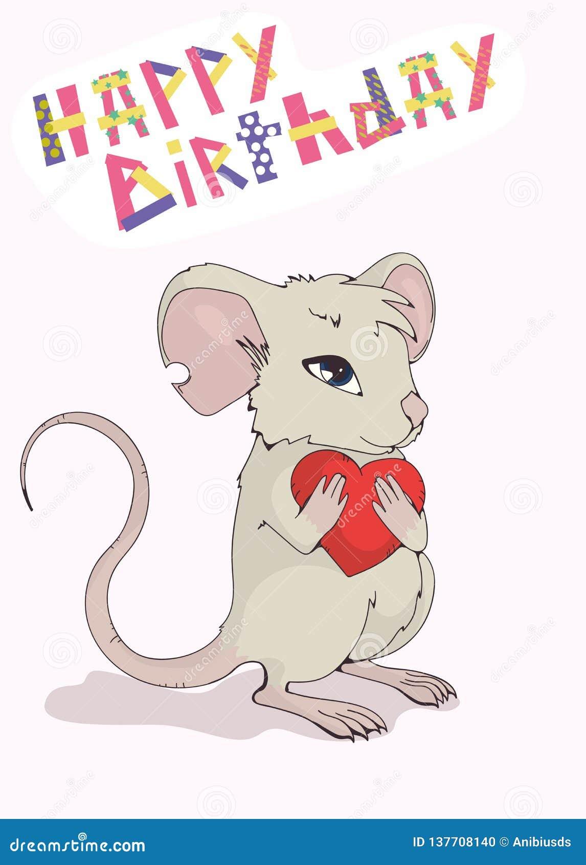 """Поздравительная открытка """"с днем рождения """" Милая мышь давая любовь и сердце"""
