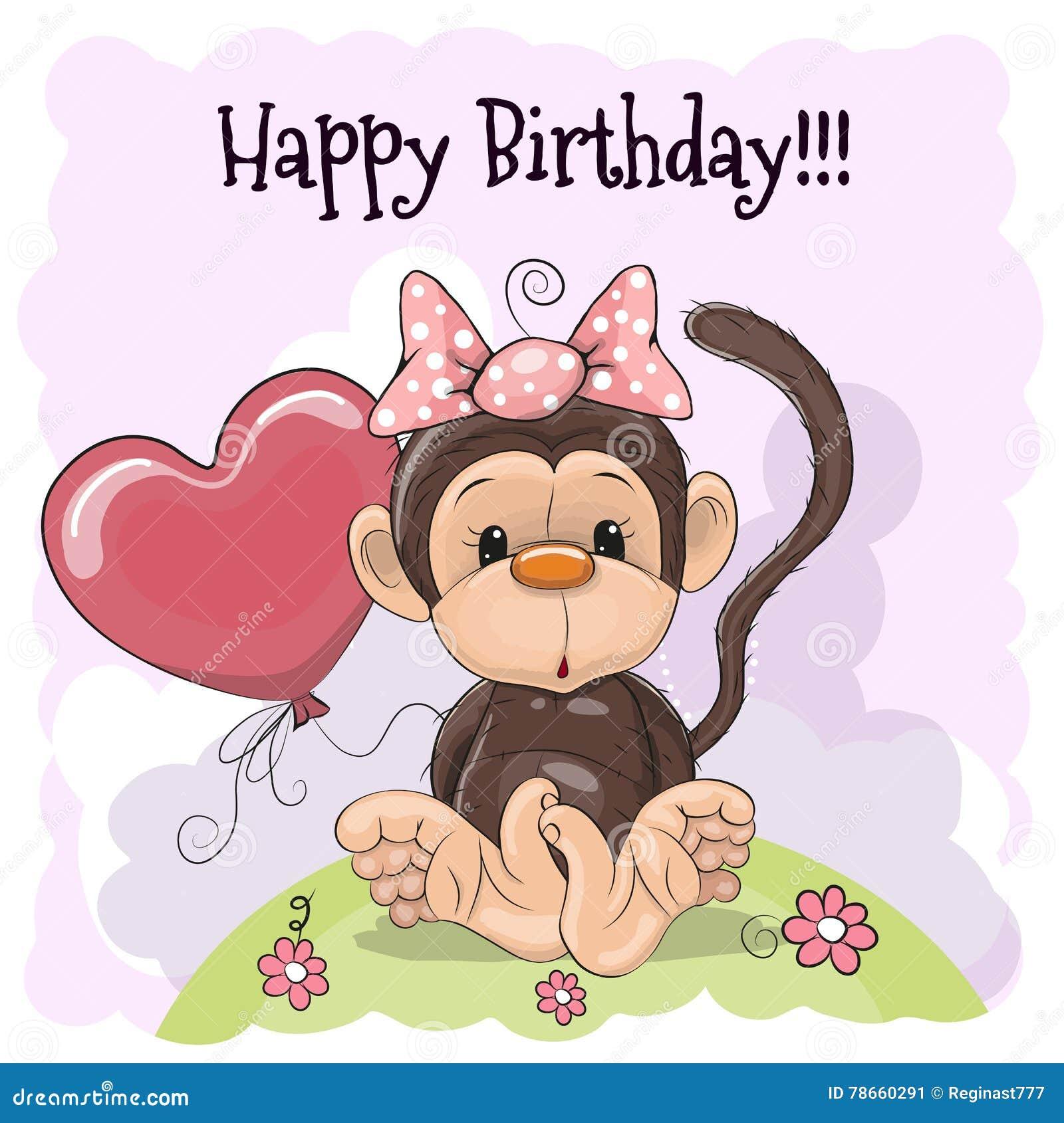 Картинки, открытка с обезьянкой на день рождения