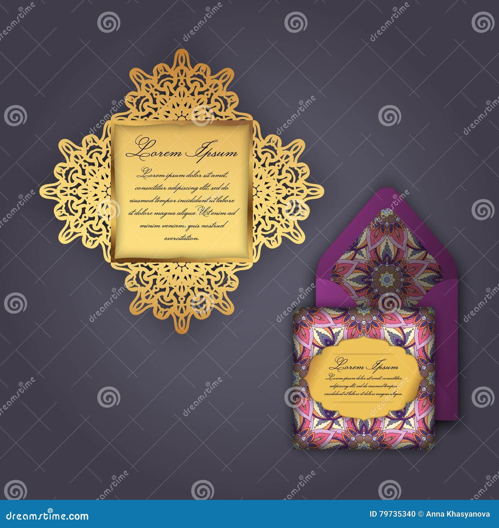 Поздравительная открытка приглашения или свадьбы с винтажным флористическим орнаментом Бумажный шаблон конверта шнурка, модель-ма