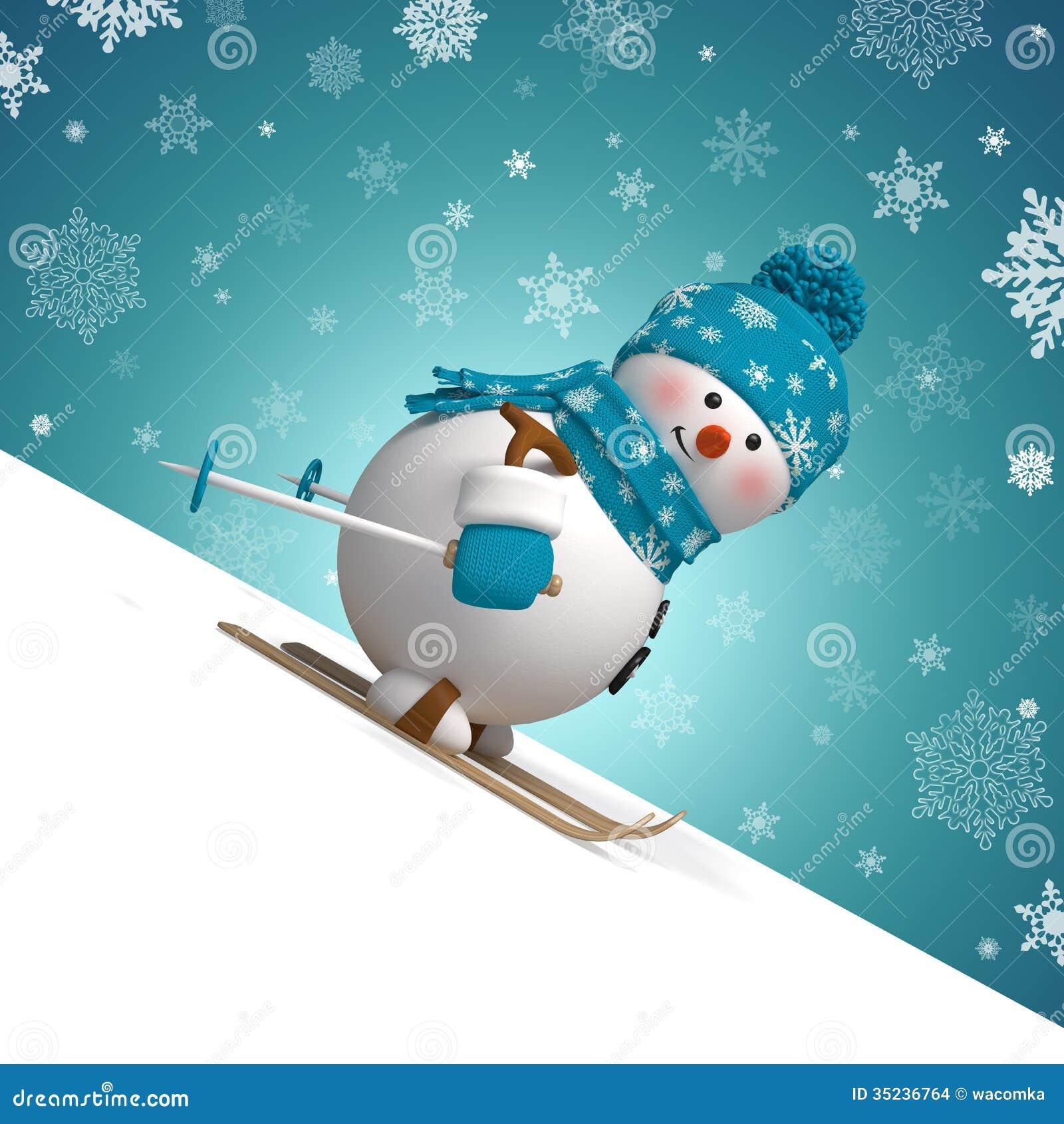 поздравительная открытка рождества снеговика катания на лыжах 3d