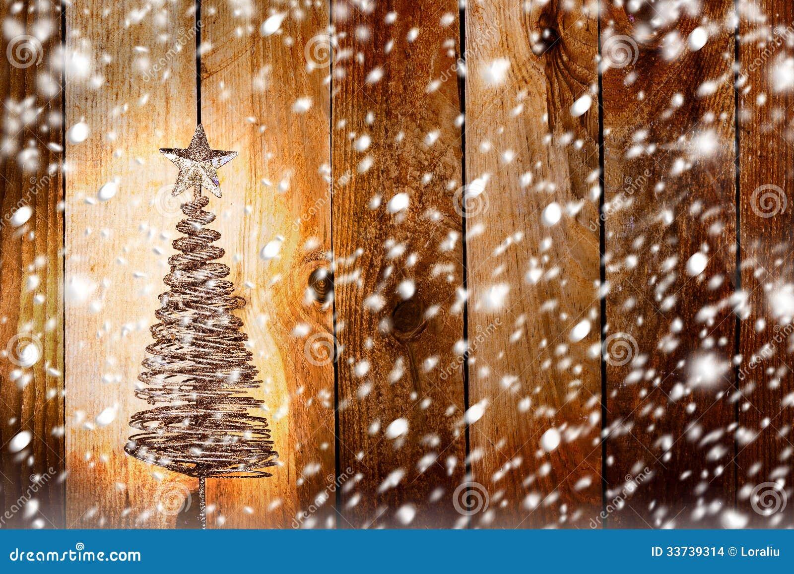 Поздравительная открытка рождества с елью металла золота