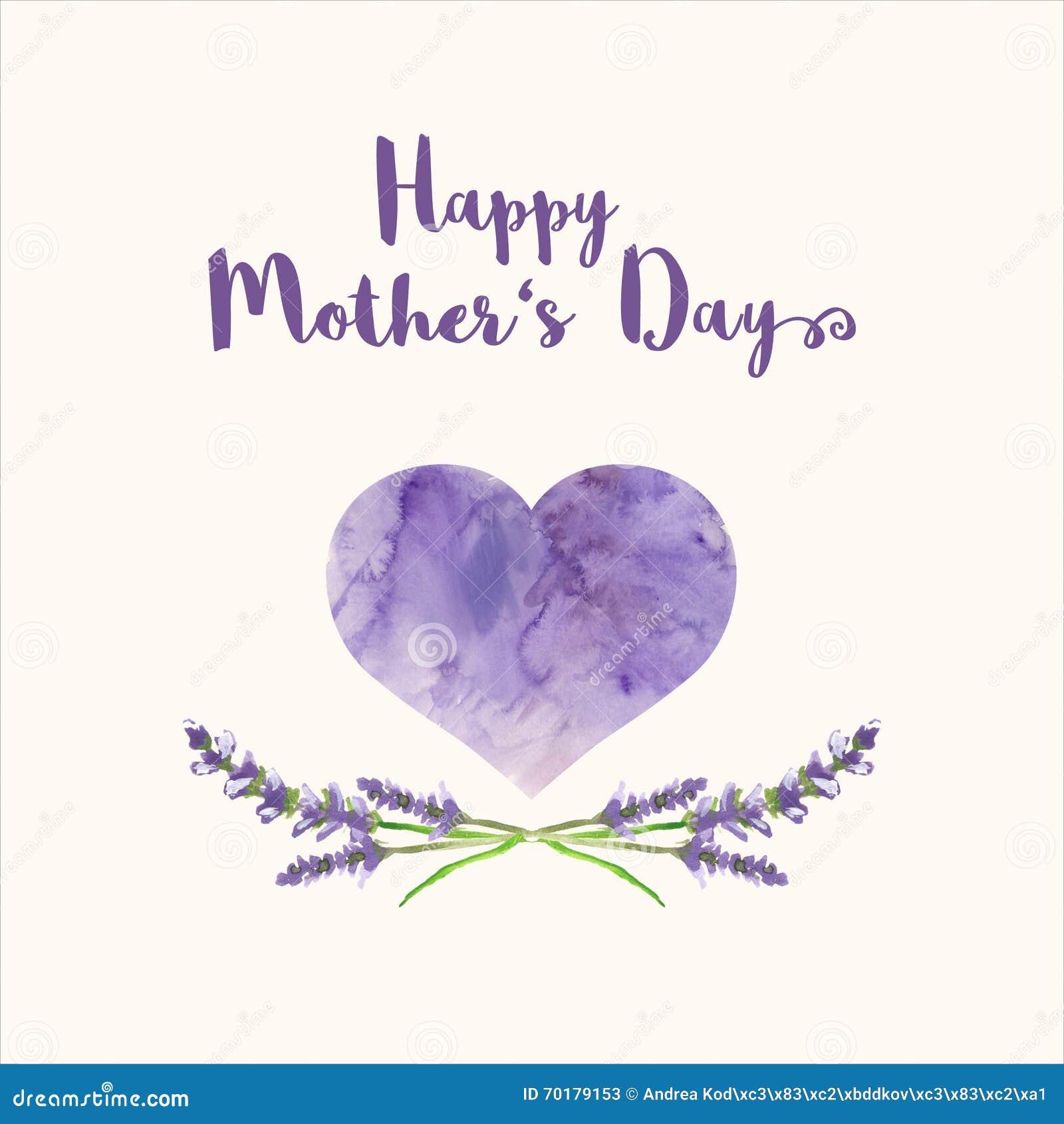 Поздравительная открытка с Днем матери текста счастливым, сердцем заполнила текстурой акварели и handpainted лавандой