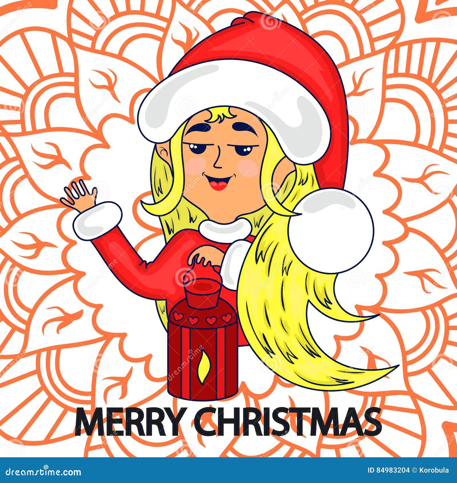 Поздравительная открытка с рождеством Счастливая девушка одетая как Санта Клаус