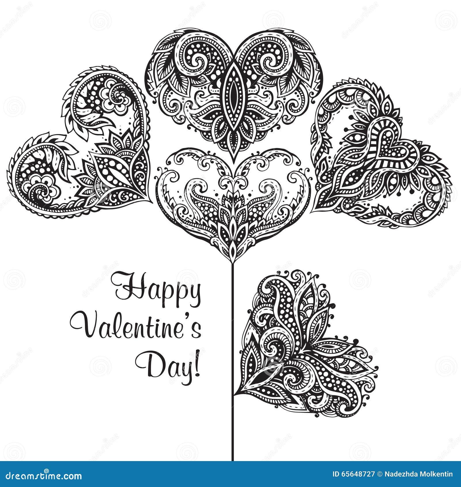 Поздравительная открытка с сердцами нарисованными рукой богато украшенными в форме цветка