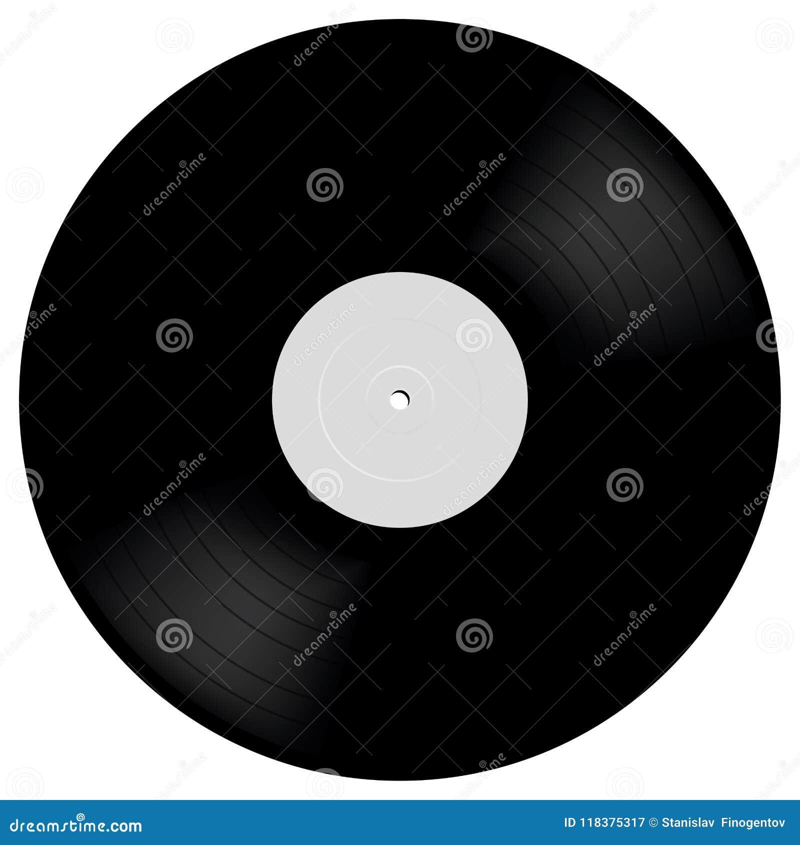 Показатель LP винила в реалистическом стиле Черный музыкальный диск 33 rpm альбома длинной игры Иллюстрация модель-макета вектора