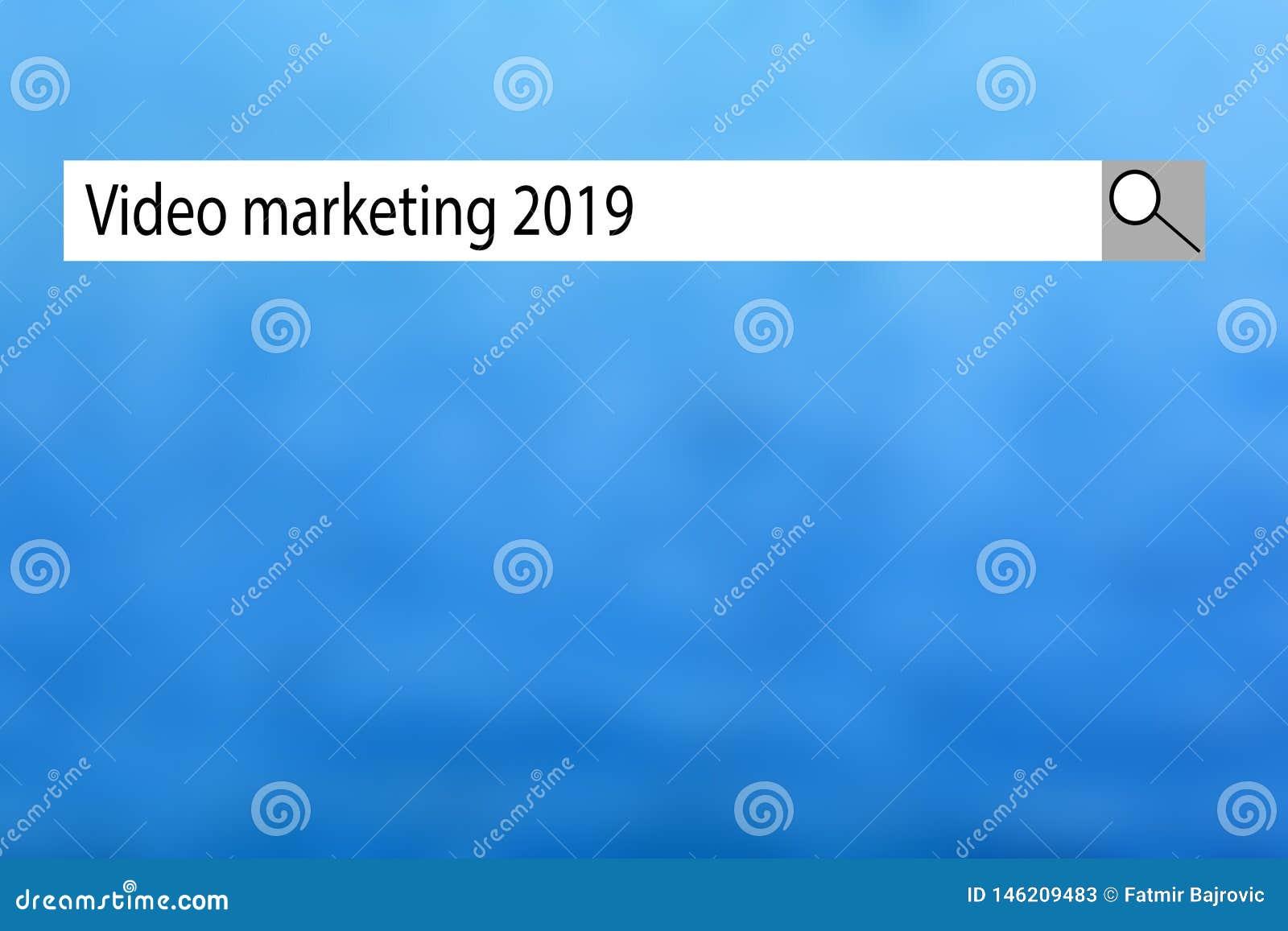 """Показ """"видео- маркетинг 2019 """"знака текста Схематический список фото вещей которые получили популярными очень быстро внутри в это"""